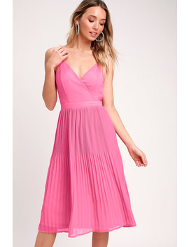 Love For You Pink Pleated Midi Dress by Lulus