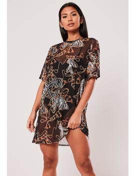 Black Oversized Chain Print Mesh T Shirt Dress by Missguided