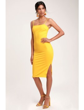 Paulina Yellow Bodycon Midi Dress by Lulus