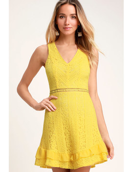 Love You Always Yellow Lace Skater Dress by Lulus