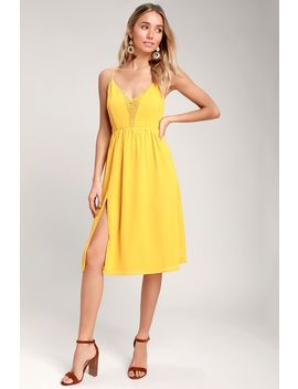 Melena Mustard Yellow Lace Backless Midi Dress by Lulus