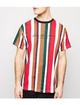 """Rotes T Shirt Mit """"La"""" Stickerei Und Mehreren Streifen by New Look"""