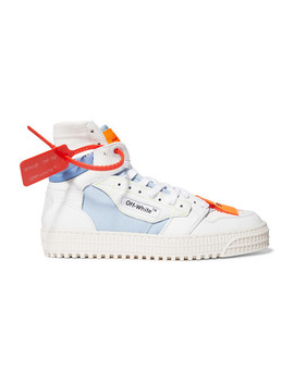 Off Court Logo Embellished Canvas, Leather And Suede High Top Sneakers by Off White