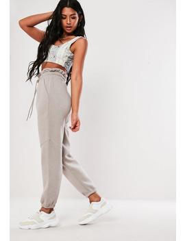Grey Paper Bag Waist Joggers by Missguided