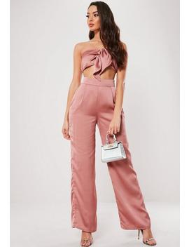 Petite Blush Satin Wide Leg Co Ord Trousers by Missguided