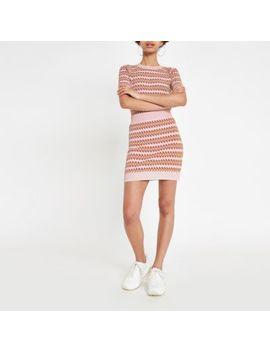 Pink Printed Jacquard Mini Skirt by River Island