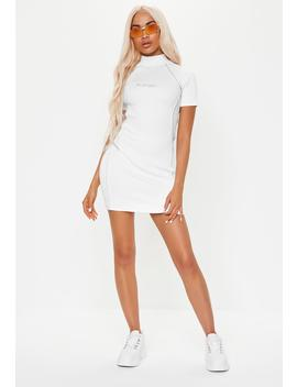 Playboy X Missguided White Reflective Ribbed Mini Dress by Missguided