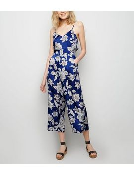 Blue Vanilla Blue Floral Culotte Jumpsuit by New Look