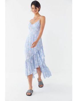 Uo Fireworks Tie Back Ruffle Midi Dress by Urban Outfitters