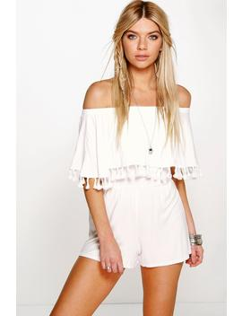 Bardot Off The Shoulder Frill Jersey Playsuit by Boohoo