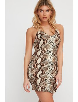 Soft Animal Printed Open Back Halter Mini Dress by Urban Planet