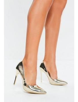 Gold High Shine Court Shoes by Missguided
