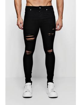 Super Skinny Jeans With Distressed Knees And Thighs by Boohoo