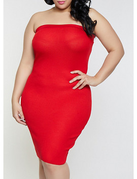 Plus Size Solid Ribbed Knit Tube Dress by Rainbow