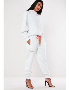 White New Season Embroidered Slogan Joggers by Missguided