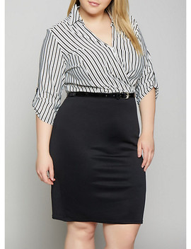Plus Size Striped Faux Wrap Belted Dress by Rainbow