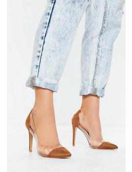 Brown Covered Toe Clear Court Heels by Missguided