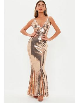 Rose Gold Sequin Plunge Fishtail Maxi Dress by Missguided