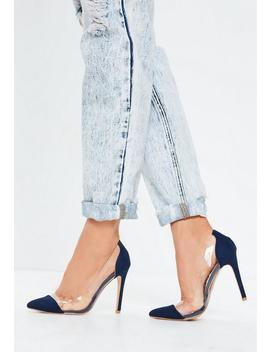 Blue Covered Toe Clear Court Heels by Missguided
