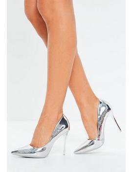 Silver High Shine Court Shoes by Missguided