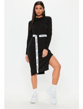 Black Side Split Belted Midi Dress by Missguided