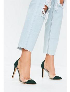 Green Covered Toe Clear Court Heels by Missguided