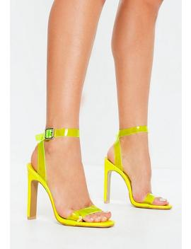 Neon Yellow Clear Barely There Heels by Missguided