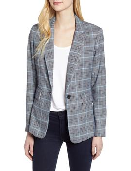 Plaid One Button Blazer by 1.State