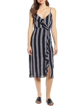Ariel Stripe Faux Wrap Dress by Rails