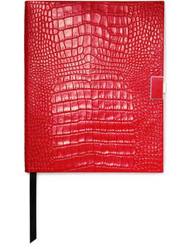 Mara Croc Effect Leather Notebook by Smythson