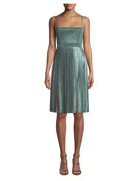Janelle Double Slit Metallic Dress by Misha