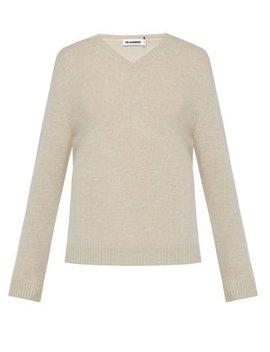 V Neck Wool Sweater by Jil Sander