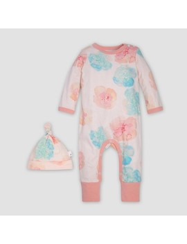 Burt's Bees Baby® Organic Cotton Girls' Morning Poppy Coverall & Knot Top Hat Set   Pink by Burt's Bees Baby