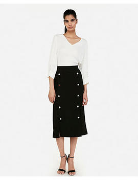High Waisted Button Front Midi Pencil Skirt by Express