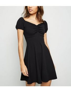 Black Ruched Milkmaid Dress by New Look