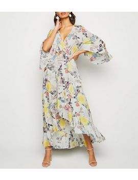 Blue Vanilla Pink Floral Flare Sleeve Maxi Dress by New Look