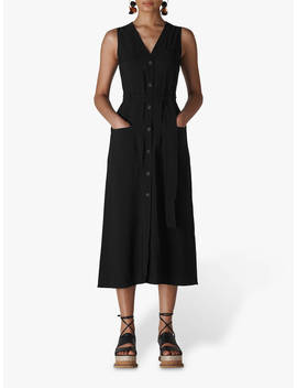 Whistles Military Tie Front Dress, Black by Whistles
