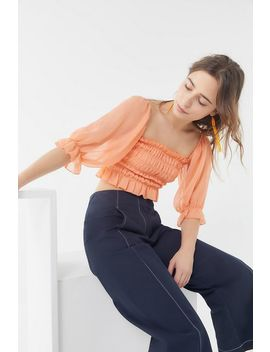 Uo Sierra Sheer Smocked Cropped Top by Urban Outfitters