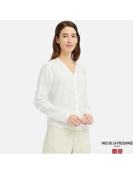 Women Ines Linen V Neck Long Sleeved Blouse by Uniqlo