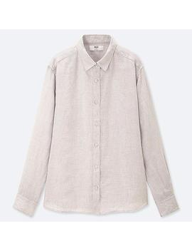 Women Premium Linen Long Sleeved Shirt by Uniqlo