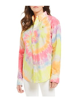 Big Fit Tie Dye Button Front Shirt by Polo Ralph Lauren