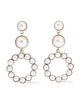 24 Karat Gold Plated Faux Pearl Earrings by Elizabeth Cole