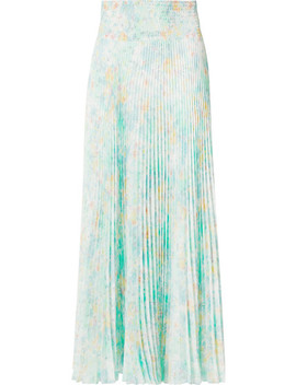 Floral Print Pleated Crepe De Chine Skirt by Prada
