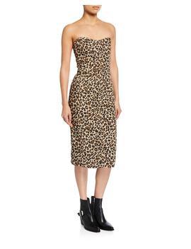 Liza Leopard Print Strapless Dress by Veronica Beard