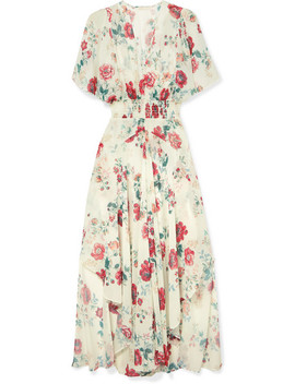 Shirred Floral Print Georgette Midi Dress by Maje