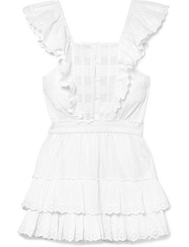 Margaret Ruffled Broderie Anglaise Cotton Mini Dress by Love Shack Fancy