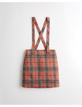 Ultra High Rise Plaid Skirt Overalls by Hollister