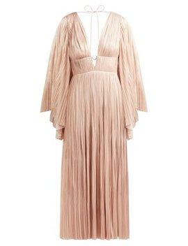 Zakiya Pleated Silk Midi Dress by Maria Lucia Hohan