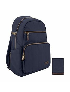Travelon: Anti Theft Courier Slim Backpack With Matching Rfid Blocking Courier Slim Wallet   Navy   Cotton Blend by Travelon