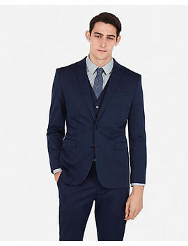 Slim Navy Cotton Blend Performance Stretch Suit Jacket by Express